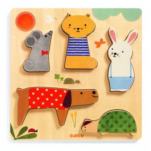 Puzzle lemn incastru animale Djeco