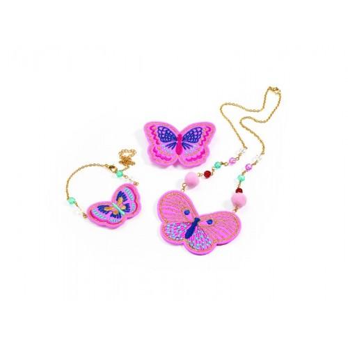 Set bijuterii brodate cu fluturi Djeco