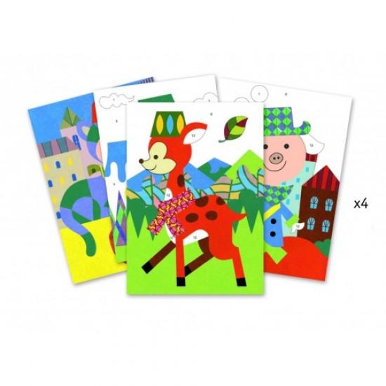 Set creativ cu nisip colorat tablouri animale Djeco