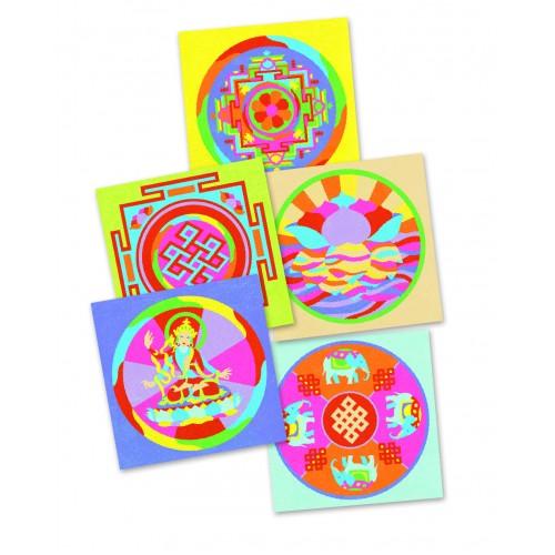 Joc creativ cu nisip colorat mandala tibetana Djeco