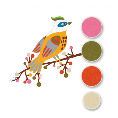 Joc creativ cu nisip colorat pasari Djeco