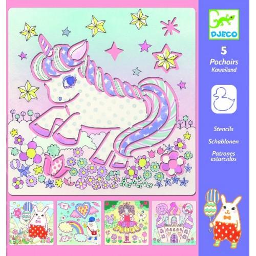 Sabloane de desen o lume magica cu unicorni Djeco
