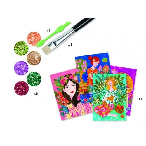 Joc creativ cu sclipici colorat flori parfumate Djeco