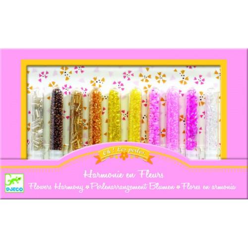 Set de confectionat bijuterii si margele cu flori Djeco