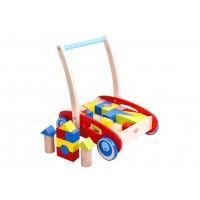 Antemergator cu cuburi lemn Baby walker Tooky Toy