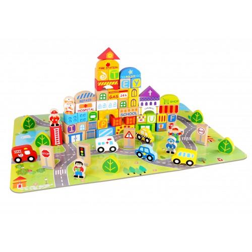 Oras de construit cu 100 de piese din lemn Tooky Toy