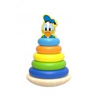 Piramida de stivuit inele colorate din lemn si Donald, Disney