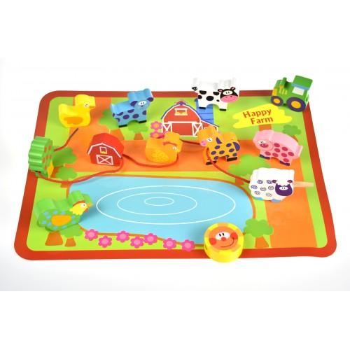 Animale lemn de insirat si tabla de joc Tooky Toy