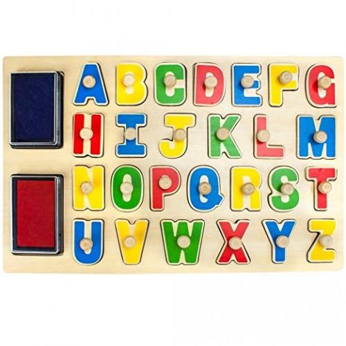Stampile litere din lemn alfabet Tooky Toy