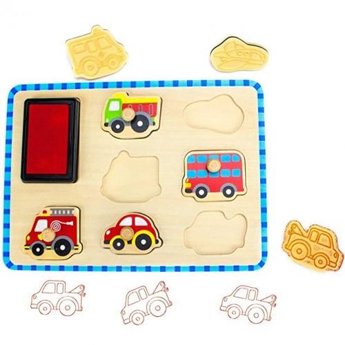 Set stampile vehicule din lemn Tooky Toy