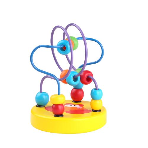 Mini labirint cu margele colorate galben Tooky Toy
