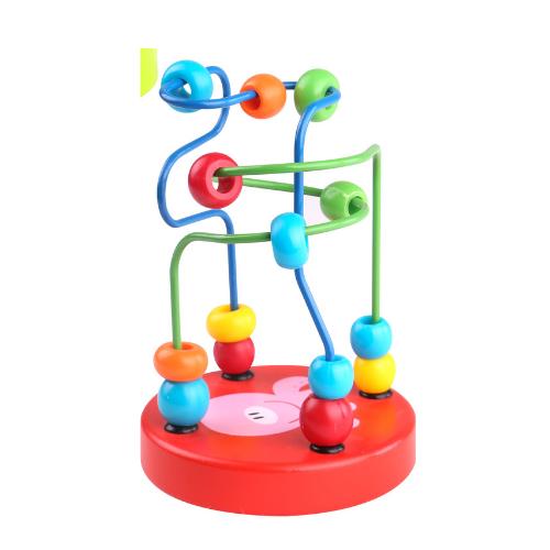 Mini labirint cu margele colorate rosu Tooky Toy