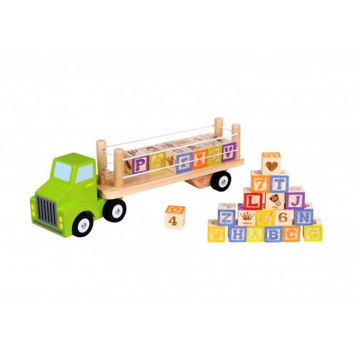 Camion cu cuburi litere si cifre Tooky Toy