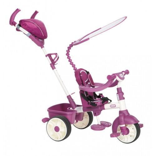 Tricicleta Sport 4 in 1 roz cu alb Little Tikes