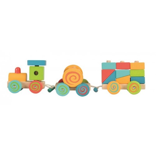 Trenulet cu cuburi lemn Egmont Toys