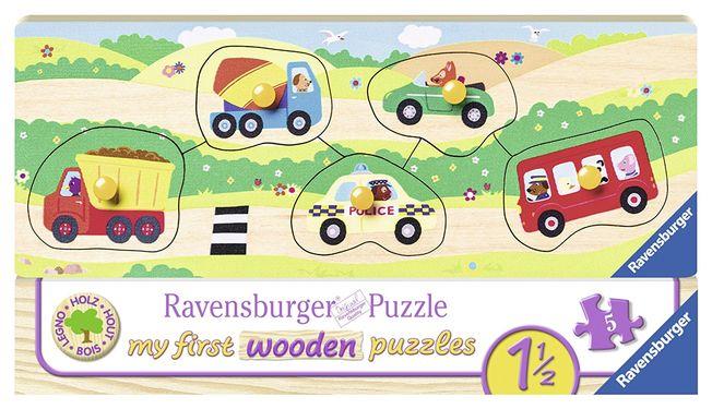 Puzzle lemn cu vehicule 5 piese Ravensburger