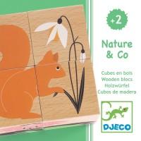 Puzzle cuburi lemn Natura Djeco