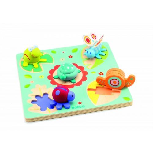 Puzzle lemn relief testoasa si prietenii Djeco