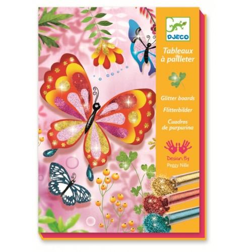 Joc creativ cu sclipici colorat fluturi djeco imagine