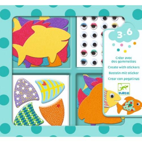 Colaje creative cu pesti colorati djeco imagine