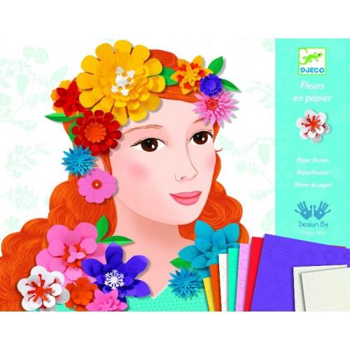 Colaj creativ cu flori colorate djeco