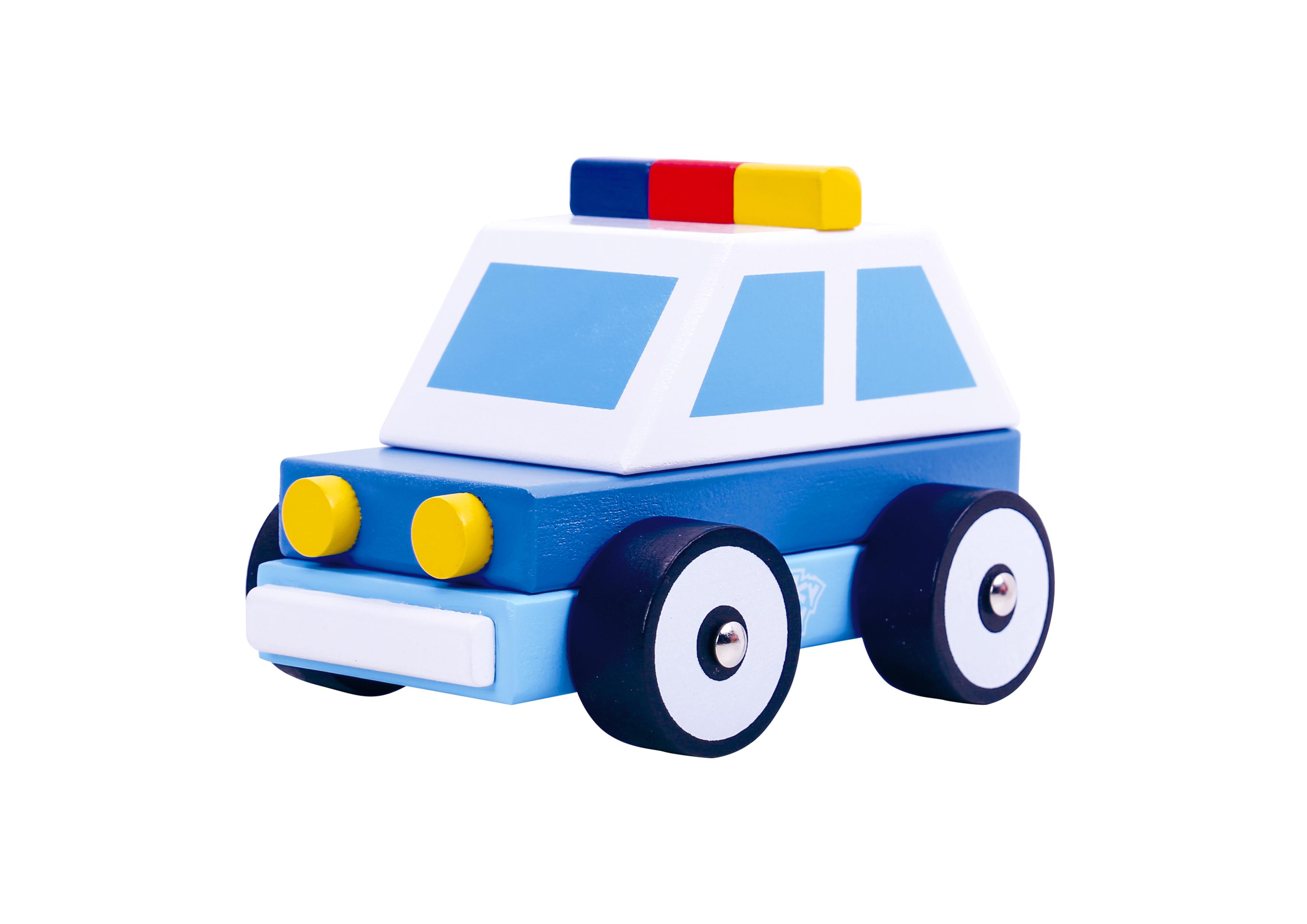 Masina de politie din lemn tooky toy imagine