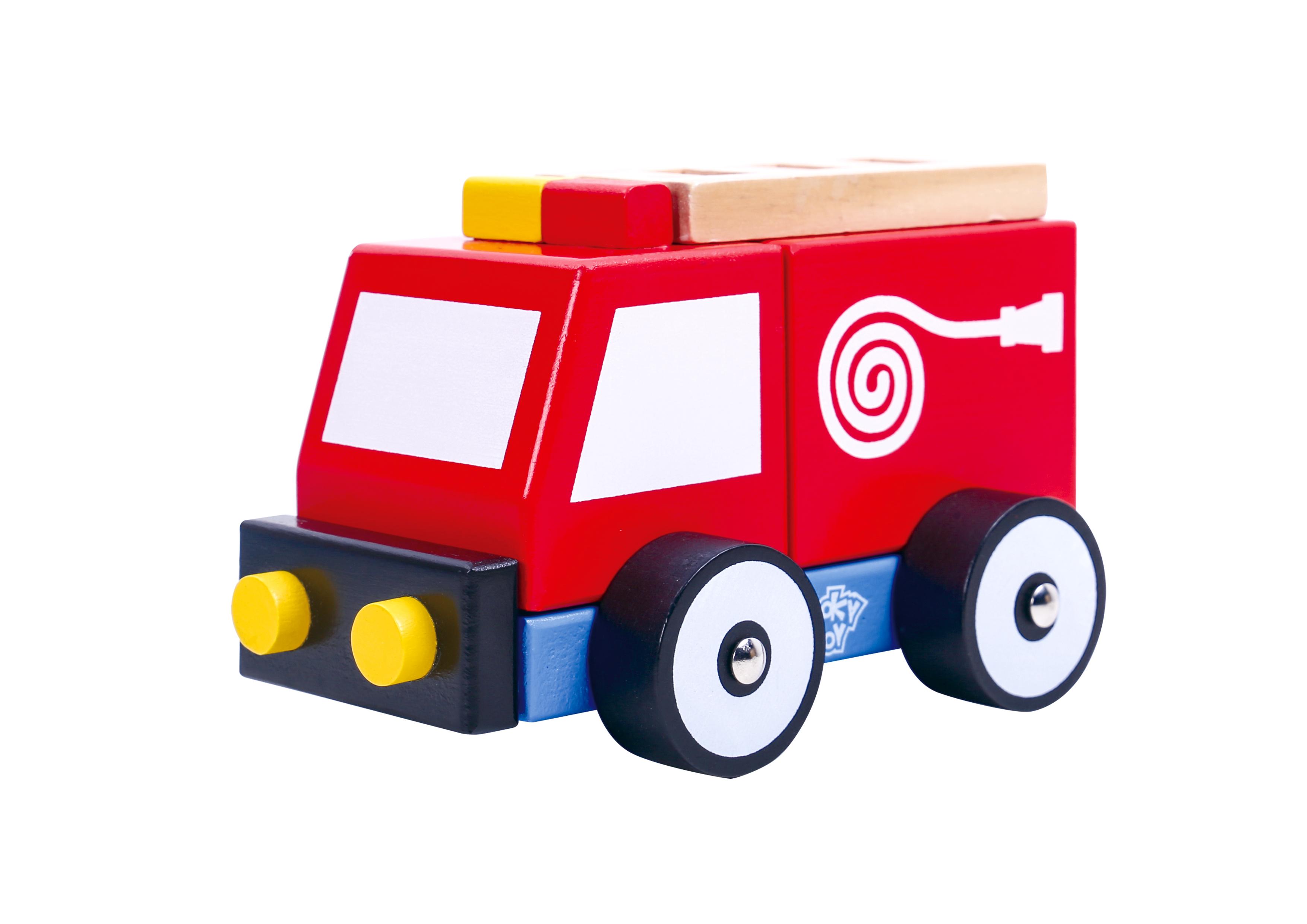 Masina de pompieri din lemn tooky toy imagine