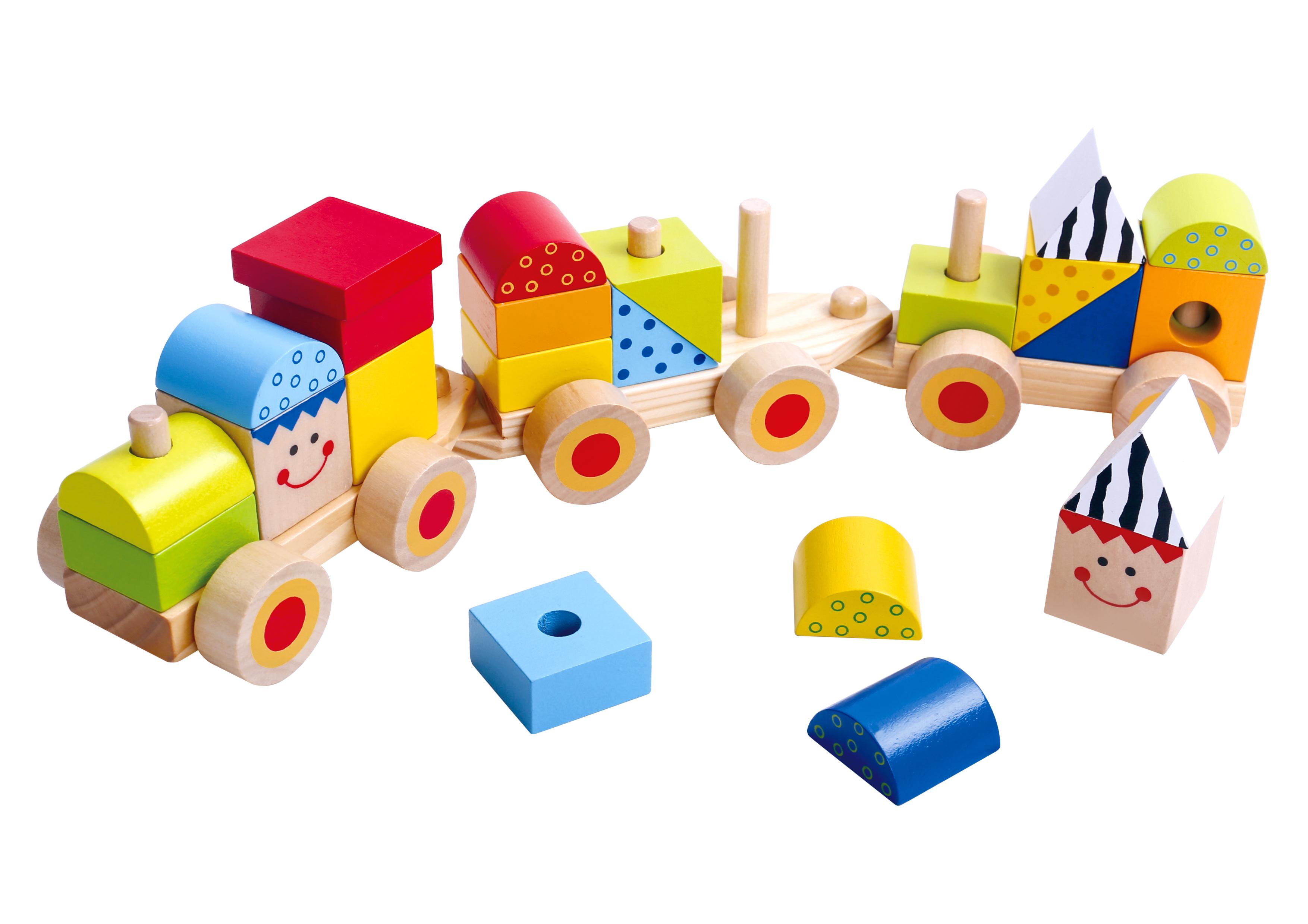 Trenulet cu piese de stivuit din lemn tooky toy imagine