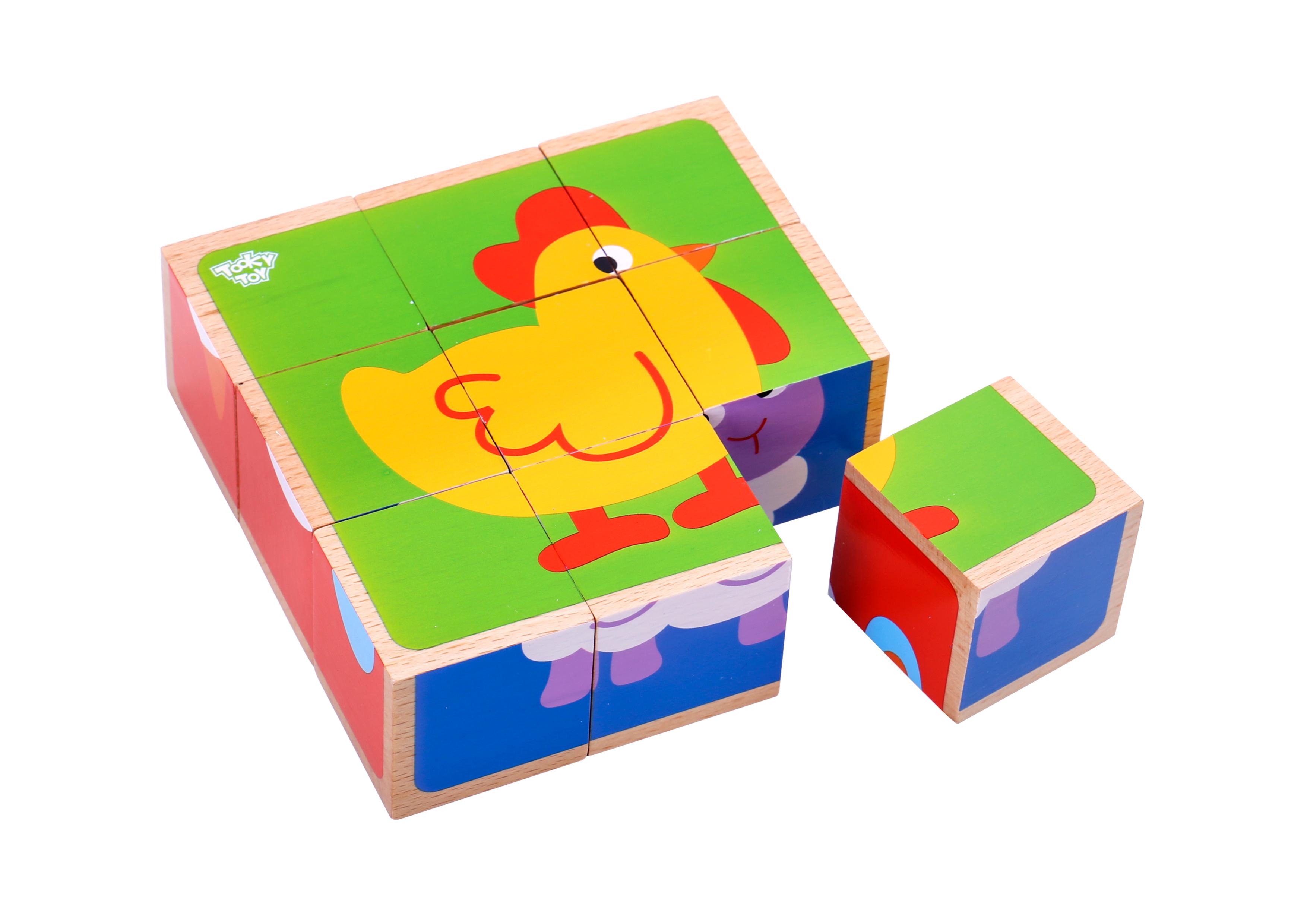 Puzzle animale cuburi din lemn tooky toy imagine