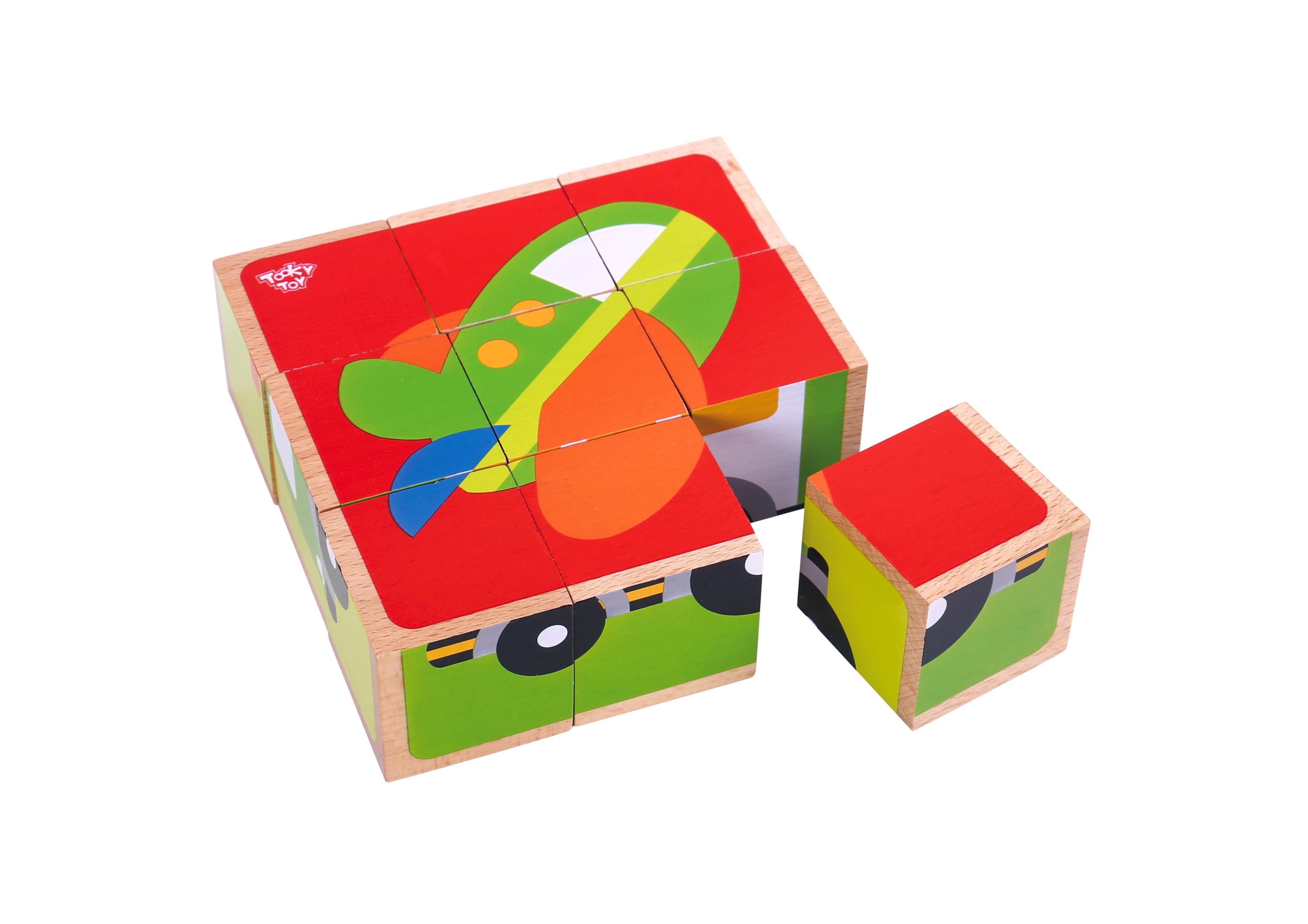 Puzzle vehicule cuburi lemn tooky toy imagine
