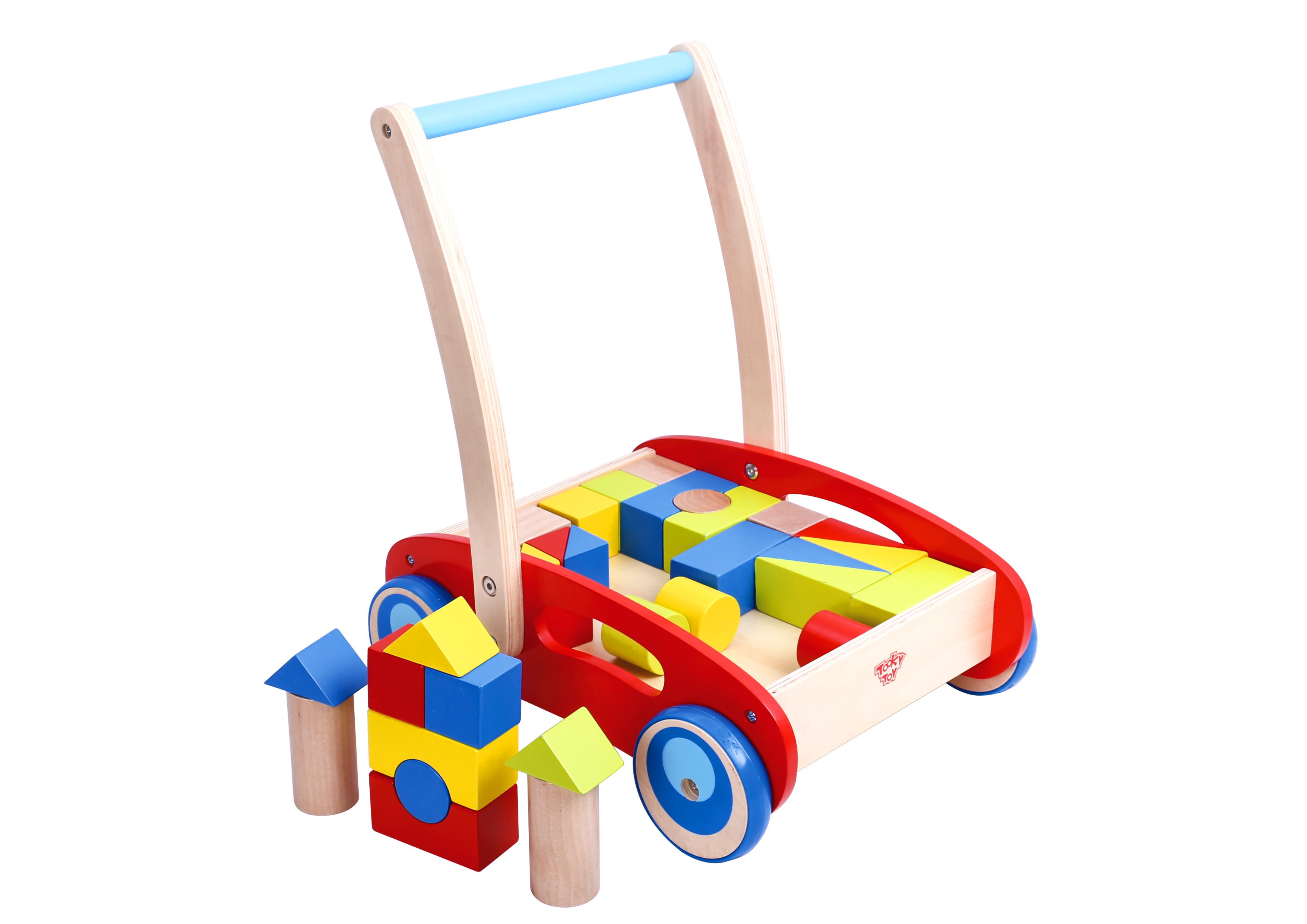 Antemergator cu cuburi lemn baby walker tooky toy imagine