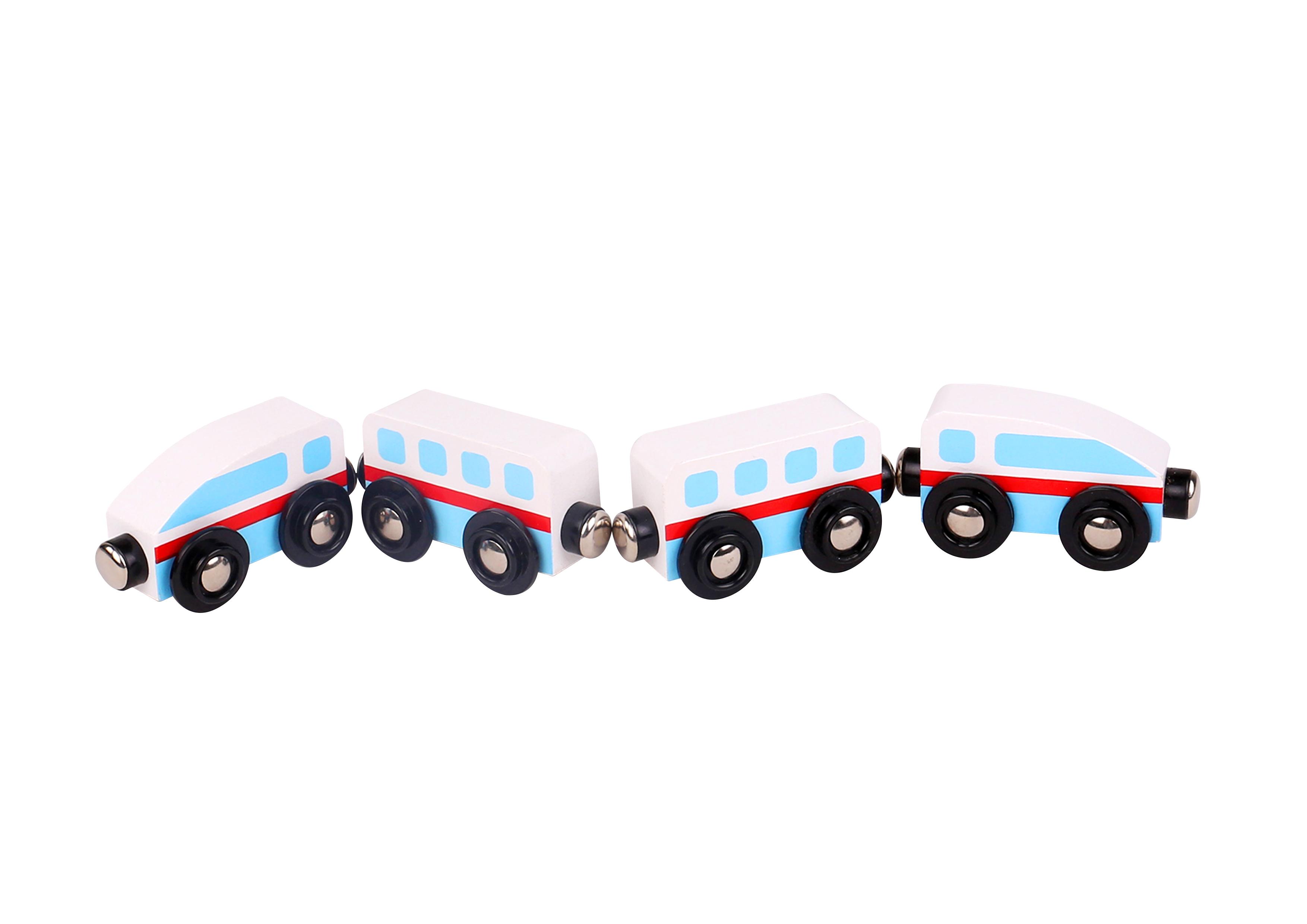 Trenulet lemn alb si albastru cu magnet tooky toy imagine