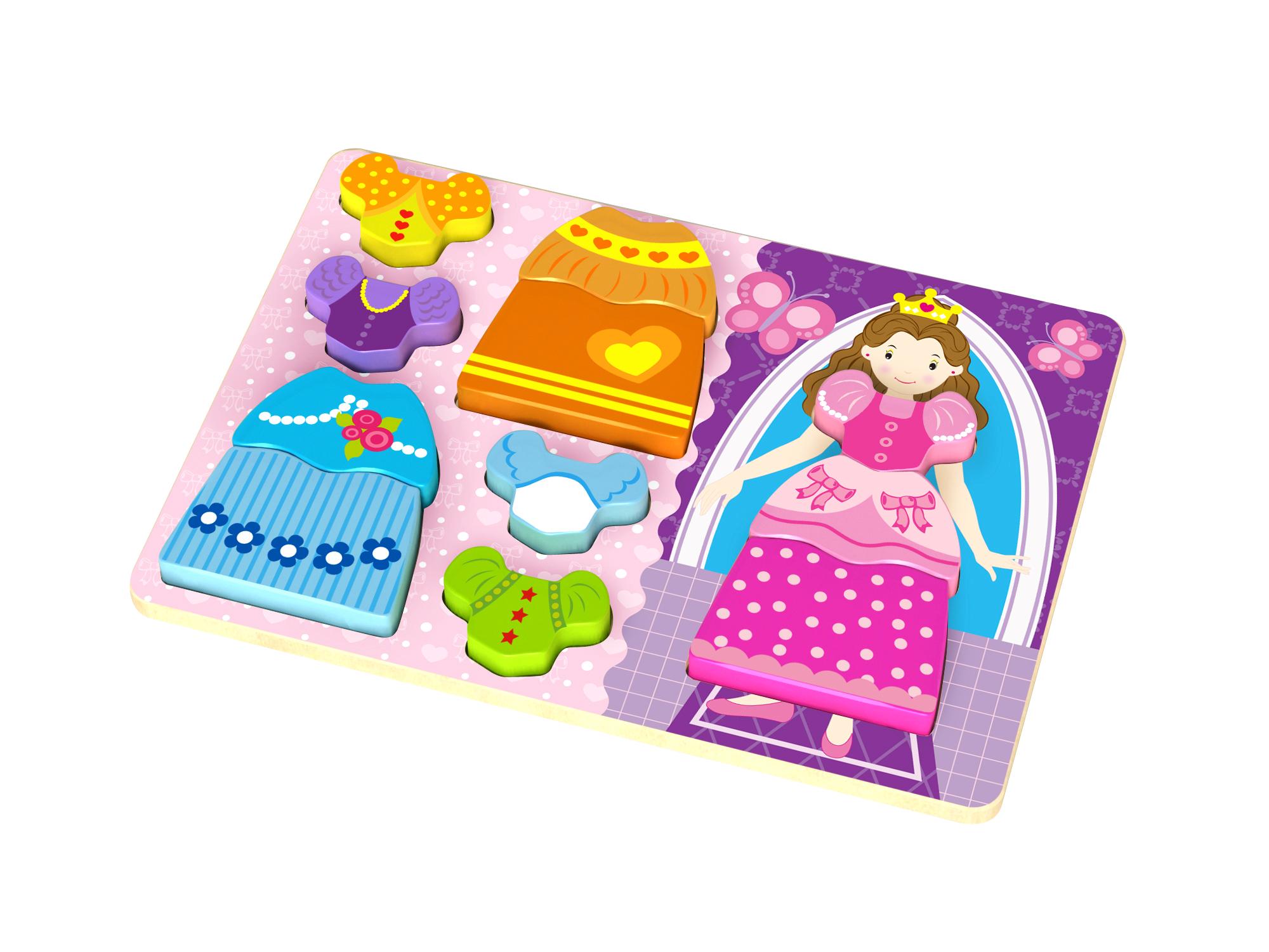 Puzzle lemn imbraca printesa tooky toy imagine