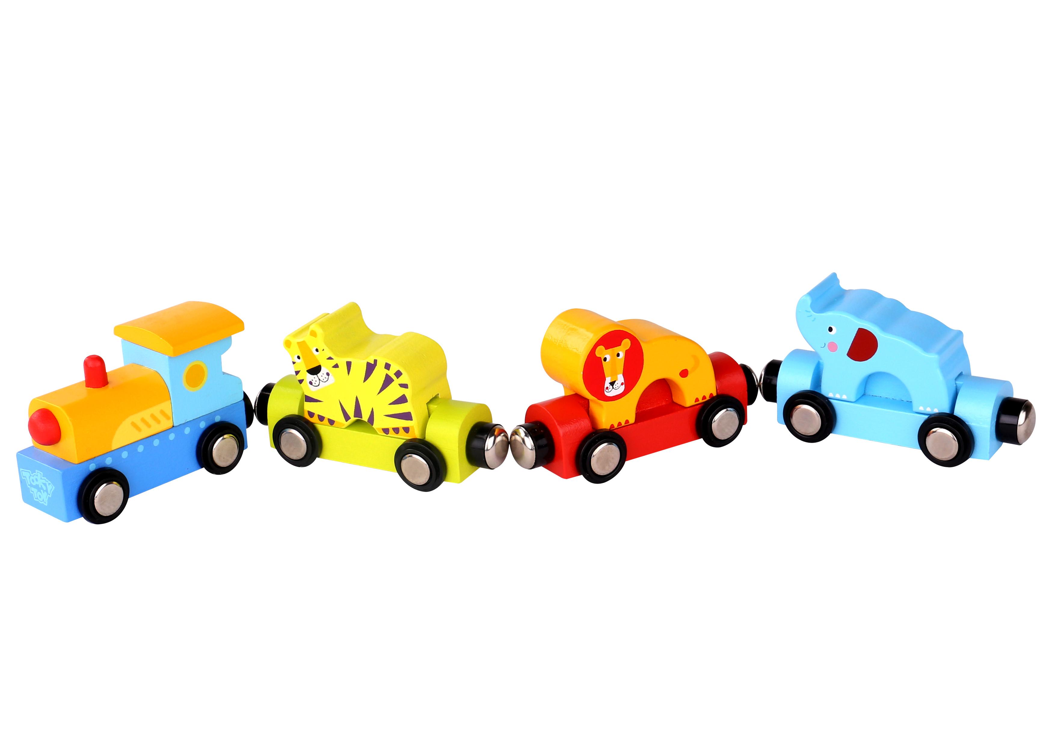 Trenulet animale de circ cu magnet tooky toy imagine