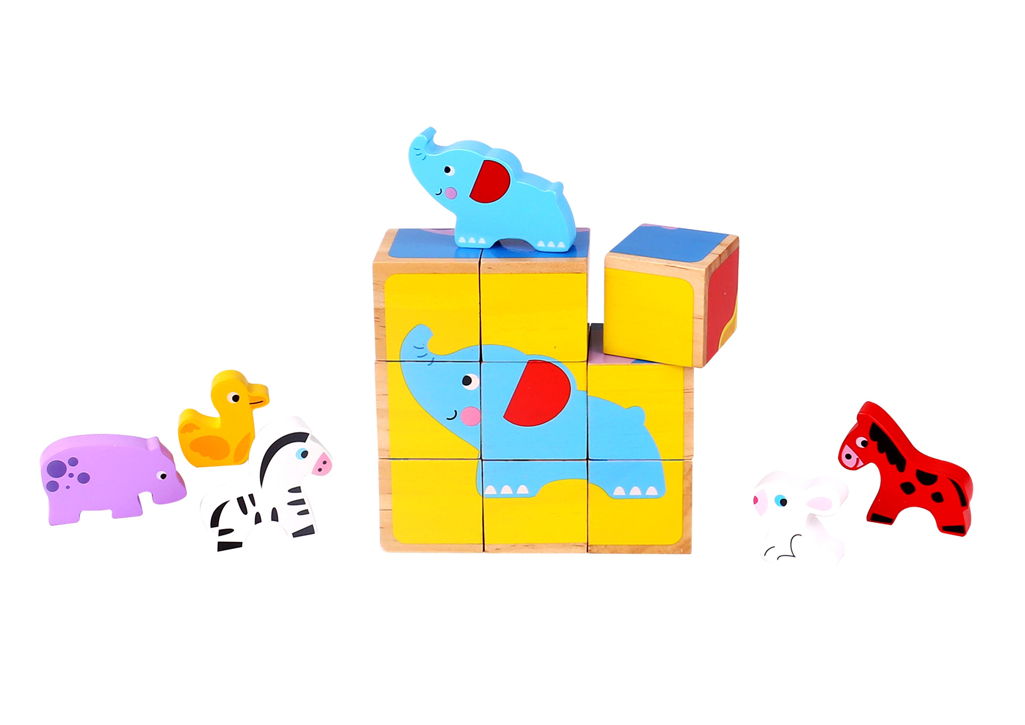 Puzzle lemn cuburi si figurine tooky toy imagine