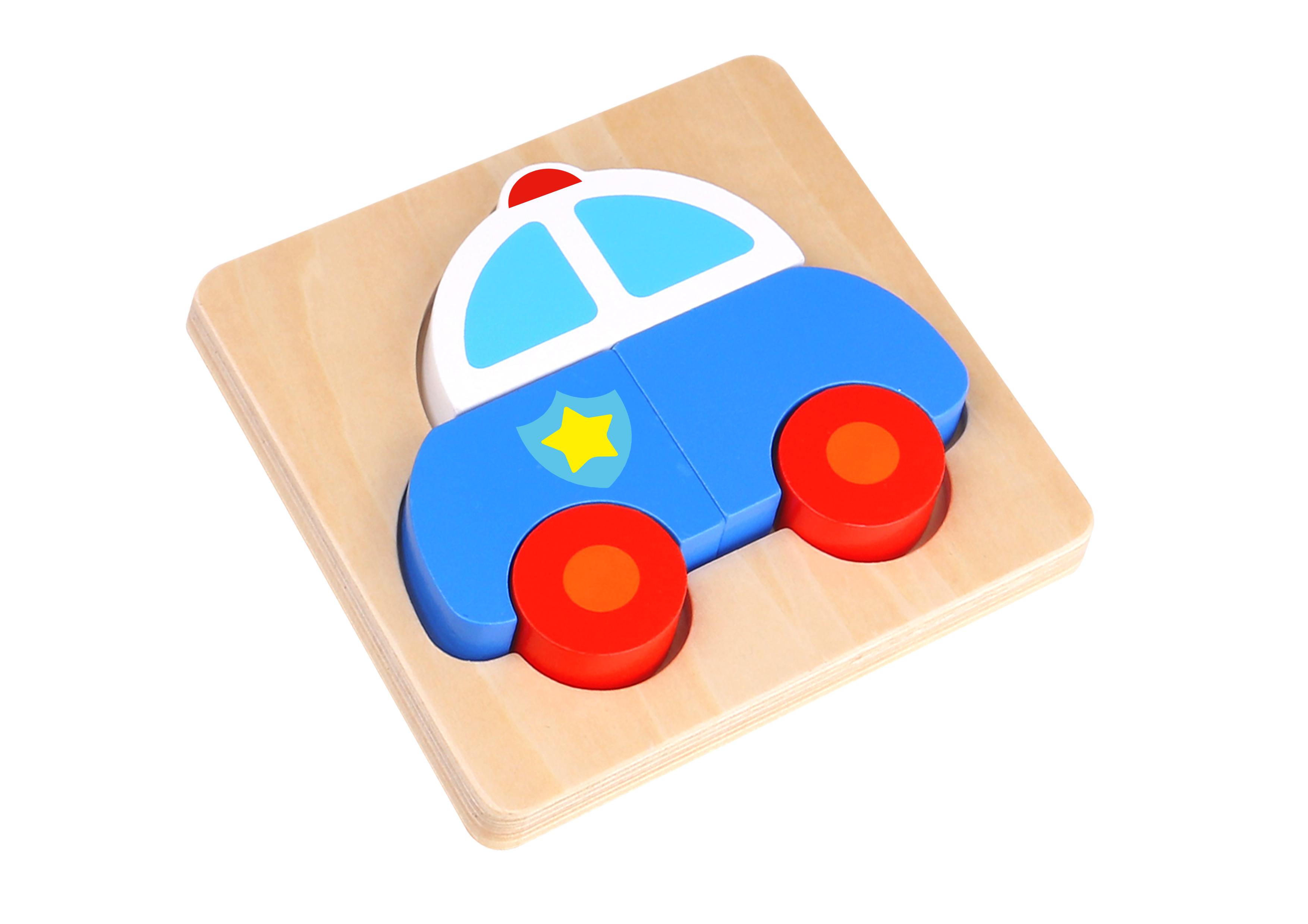 Mini puzzle lemn masina de politie tooky toy imagine