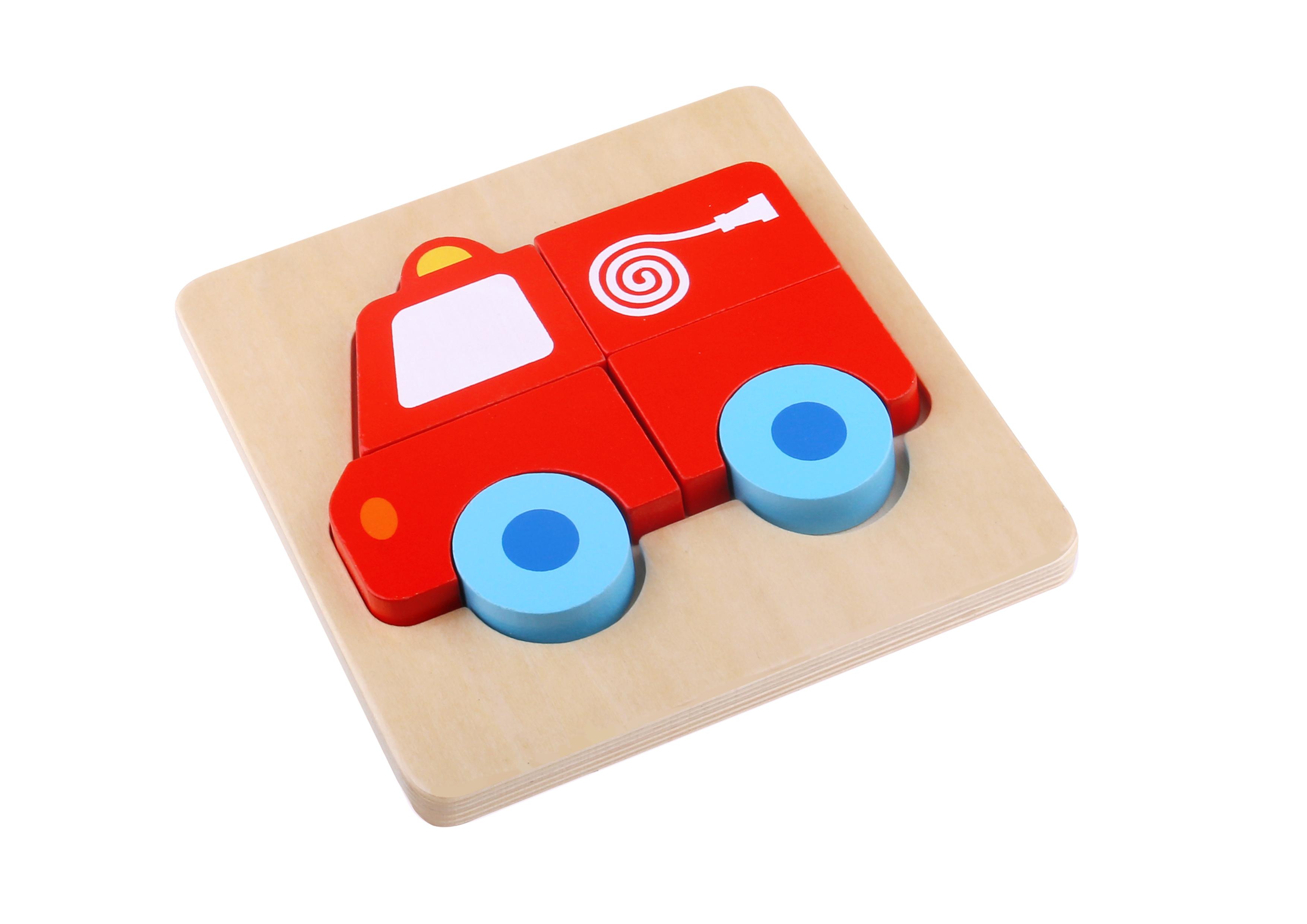 Mini puzzle lemn masina de pompieri tooky toy imagine