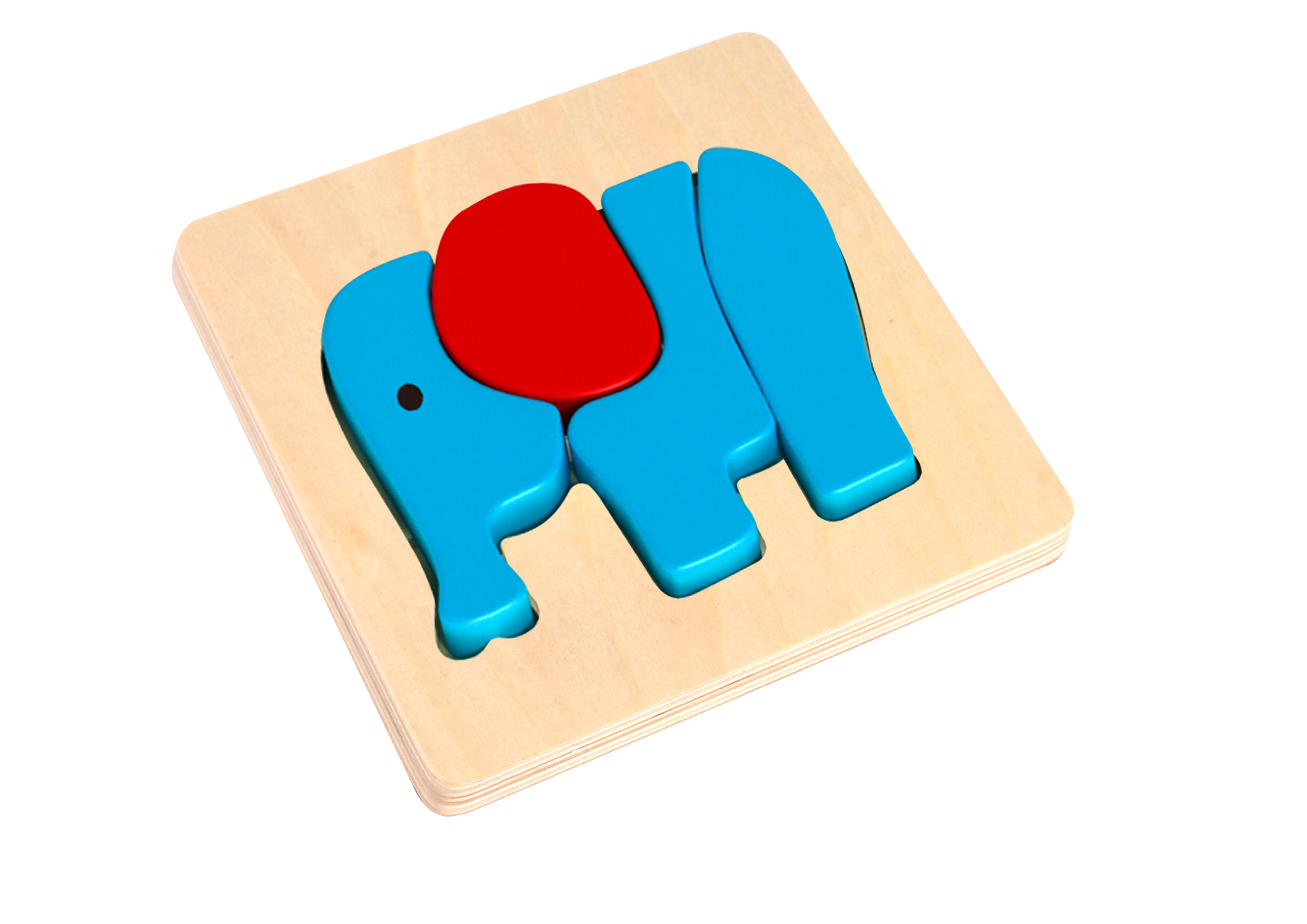 Mini puzzle lemn elefant tooky toy imagine
