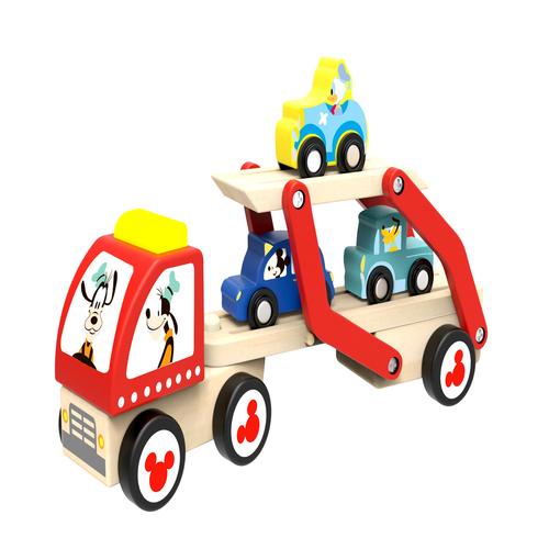 Camion transportor si masini de lemn cu personaje disney imagine