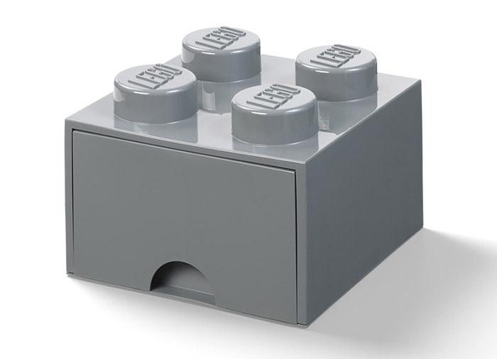 Cutie depozitare lego 2x2 cu sertar gri inchis imagine