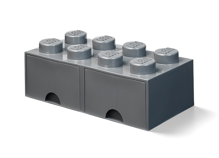 Cutie depozitare lego 2x4 cu sertare gri inchis imagine