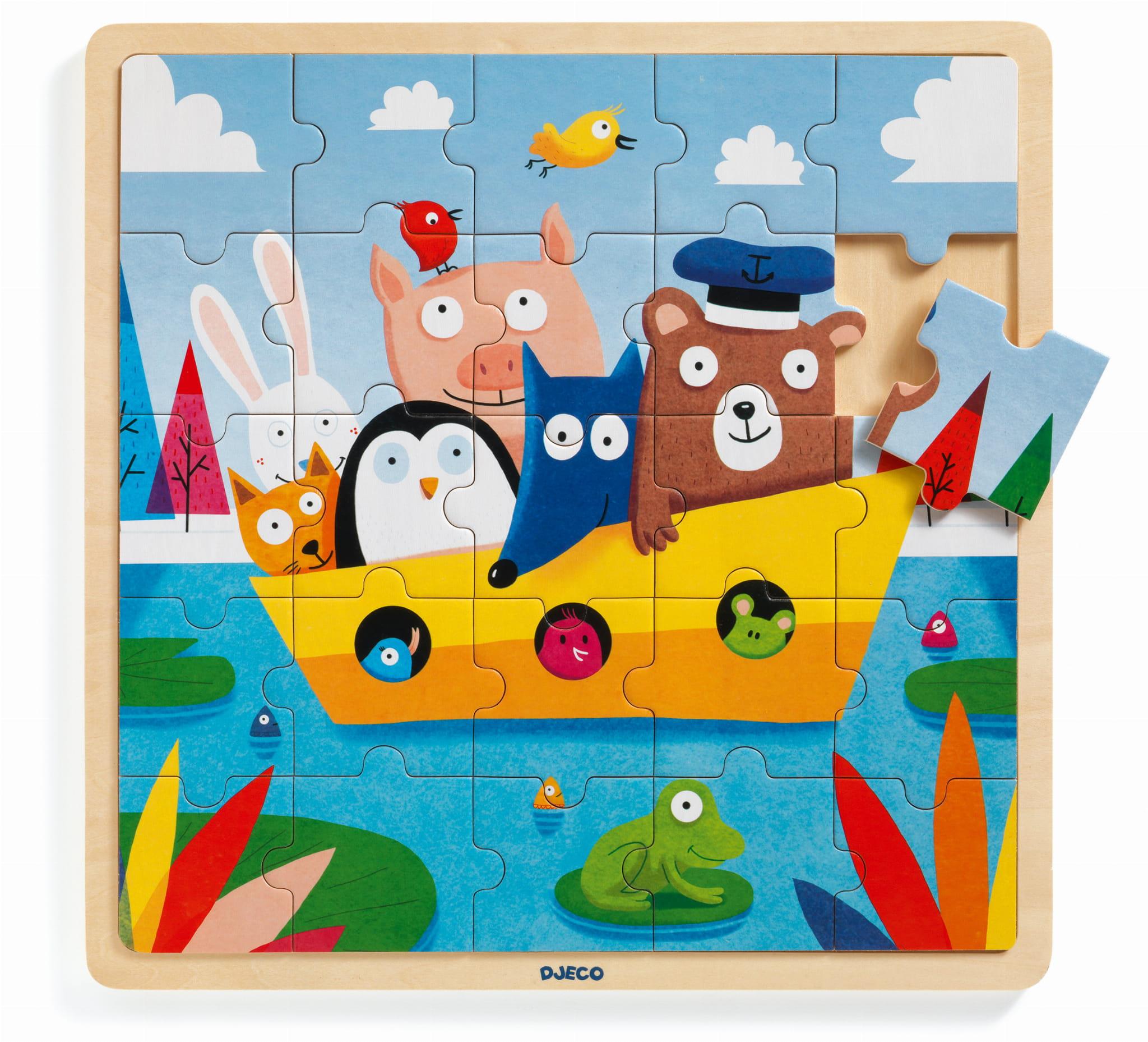 Puzzle lemn toti in barca 25 piese djeco imagine