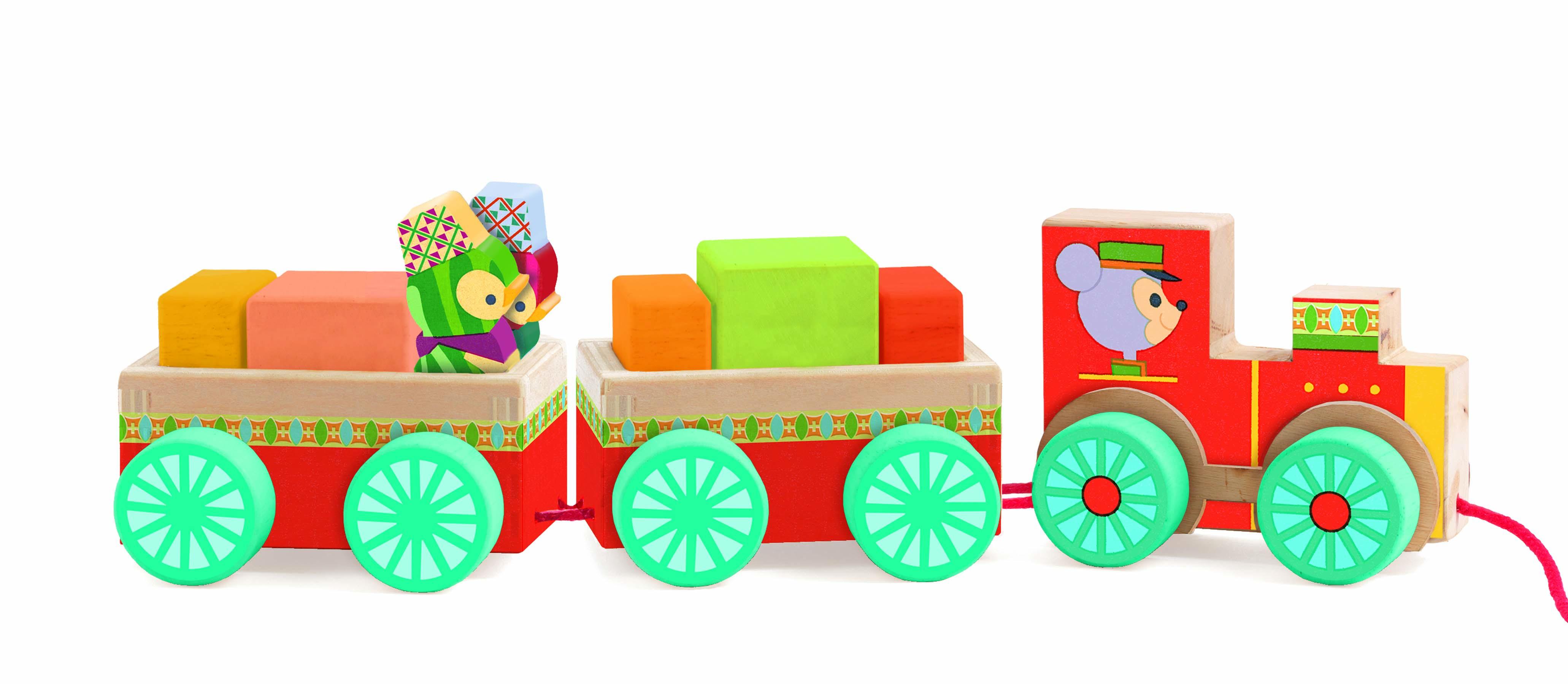 Trenulet cu cuburi si pinguini djeco imagine