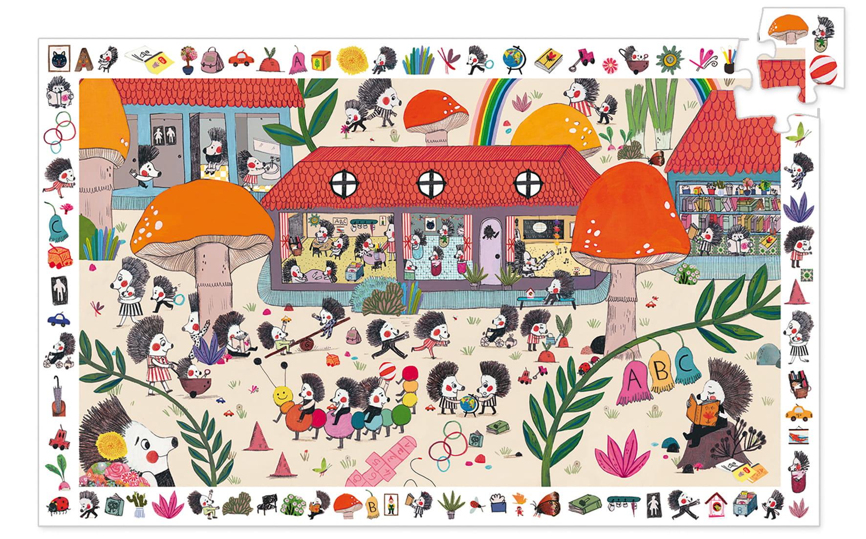 Puzzle observatie scoala aricilor 35 piese djeco