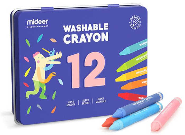 Creioane colorate cerate lavabile 12 buc mideer