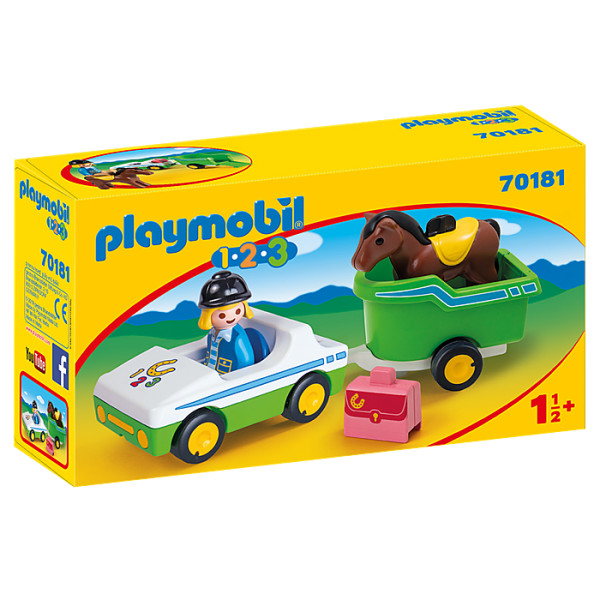 Masina cu remorca si calut playmobil 1.2.3