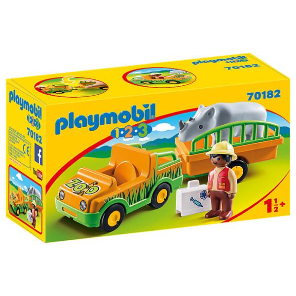 Masina zoo cu rinocer playmobil 1.2.3