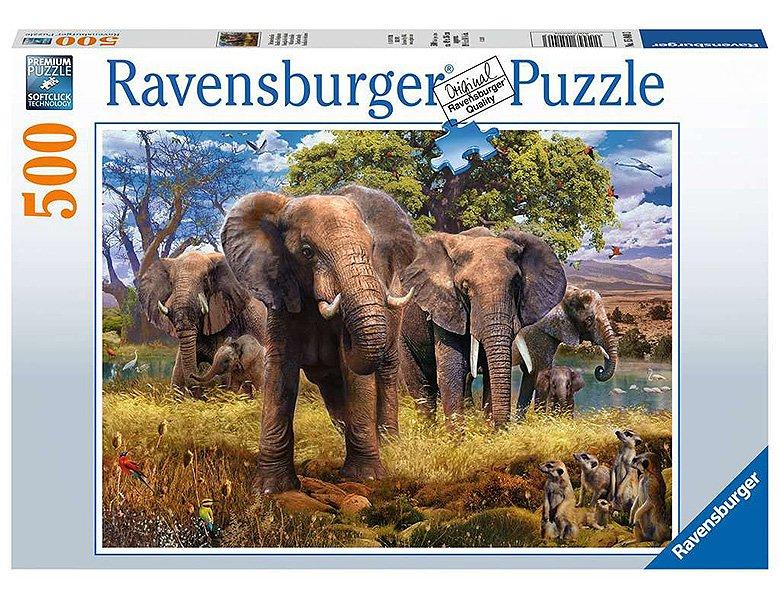 Puzzle familie elefanti 500 piese ravensburger