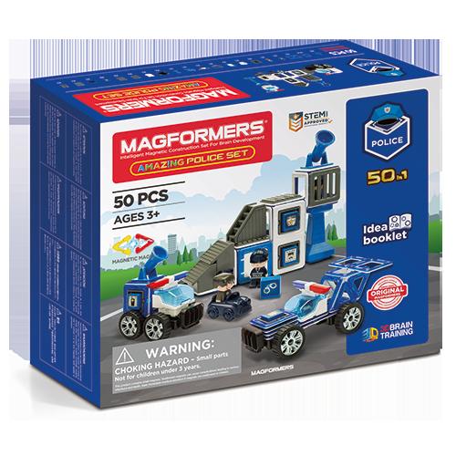 Set constructie magnetic magformers politie 50 piese clics toys imagine