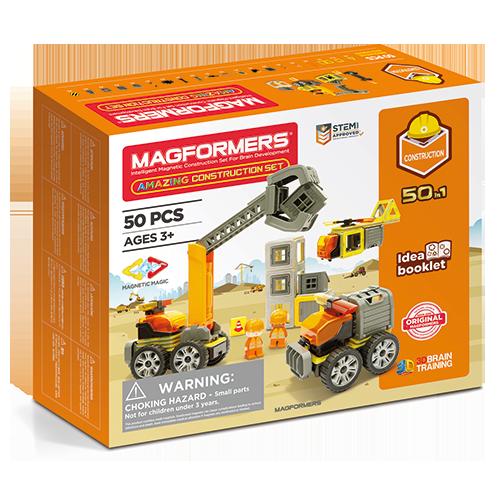 Set constructie magnetic magformers santier 50 piese clics toys imagine